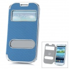 Stylish Protective Artificial Leather + Plastic Case for Samsung Galaxy S3 i9300 - Blue + Silver