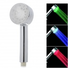 Temperature Sensor RGB Light Changing 5-LED Round Shaped Rainfall Shower Head - Silver