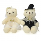 Wedding Bears Shaped Plush Toy - Beige + Black (Pair)