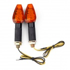 1W 112lm 14-LED Yellow Light Motorcycle Turn Signals - Black + Orange (12V / 2PCS)