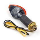 1W 112lm 14-LED Yellow Light Motorcycle Turn Signals - Black + Orange + Silver (12V / 2PCS)