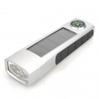 XSK-T501P Solar Rechargeable 5-LED 50lm White Flashlight w/ Compass - Silver