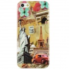 The Statue of Liberty + Eiffel Tower Protective Plastic Back Case for Iphone 5 - Multicolored