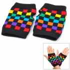 Check Pattern Woolen Yarn Fingerless Gloves - Black + Multicolored (Pair / Free Size)
