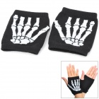 Skull Bones Pattern Fashion Half-finger Gloves - White + Black (Pair)