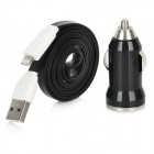 Car Charger + Flat Blitz 8-Pin Stecker auf USB Stecker Data Sync / Ladekabel für iPhone 5 - Black