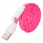 006 USB Stecker auf 8-Pin Lightning Data / Charging Flachbandkabel für iPhone 5 - Deep Pink + White (104cm)