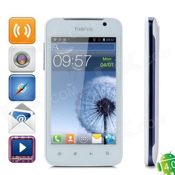 "TOOFUN W1 4.3"" Capacitive Android 4.0 Dual-Core Dual-SIM 3.1MP Bar Phone w/ Quad-Band - White + Blue"