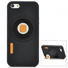 Camera Style Protective Silicone Back Case for Iphone 5 - Black + Orange