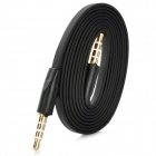Flat 4-Conductor TRRS 3.5mm Audio Male to Male Connection Cable - Black + Golden (100cm)