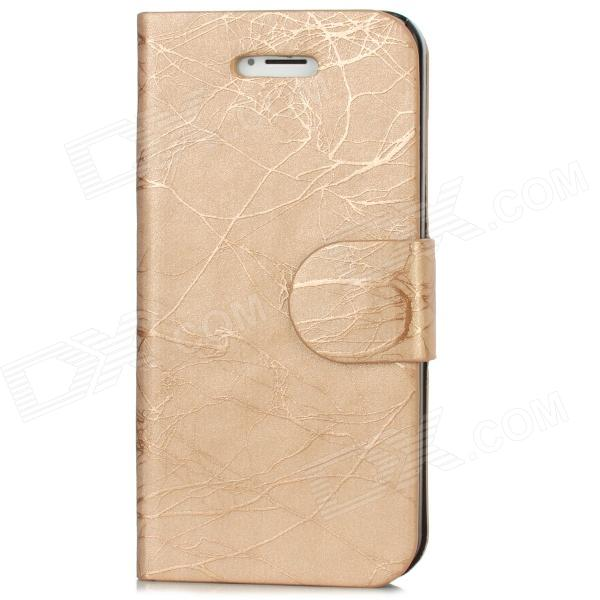 Tree Bark Pattern Protective PU Leather Case w/ 2-Card Slots for Iphone 5 - Light Golden