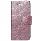 Tree Bark Pattern Protective PU Leather Case w/ 2-Card Slots for Iphone 5 - Lilac