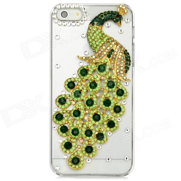 Peacock Pattern w/ Crystal Protective Back Case for Iphone 5 - Green + Transparent handpainted peacock and leaf pattern pillow case