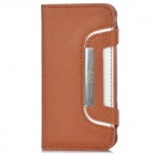 Twill Pattern Protective Leather Case w/ 2-Card Slots for Iphone 5 - Brown + White