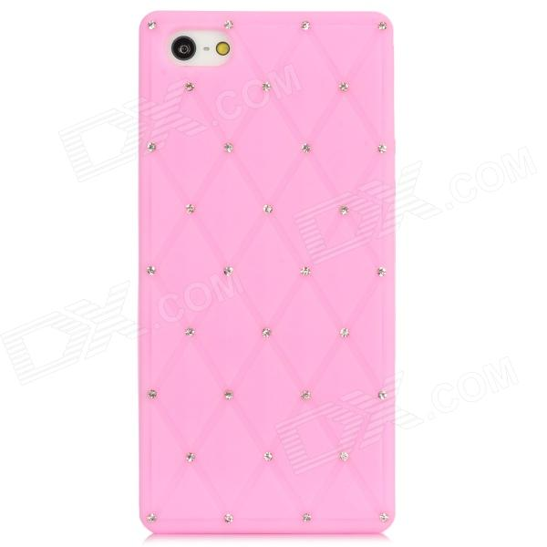 Diamond-shape Grid Pattern Protective Silicone Back Case w/ Rhinestones for Iphone 5 - Pink protective polka dots pattern silicone back case for iphone 5 pink