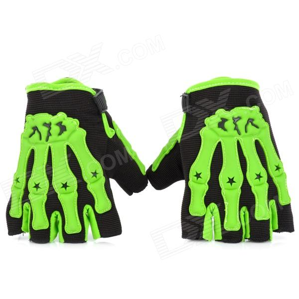 Skull Style Half-Fingers Anti-Slip Motorcycle Racing Gloves - Black + Green (Size L)