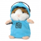 DJ Hamster w/ Headphone Style Electronic Plush Talking / Moving Toy - Blue + Brown + White