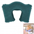 U-Style Air Inflatable Car Neck Pillow Cushion - Blue Green