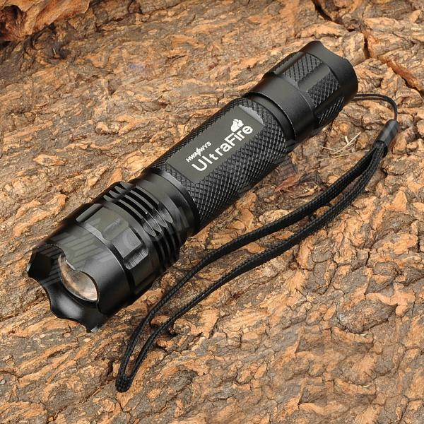 UltraFire 503B 860lm 5-Mode White Zooming Flashlight w/ XM-L T618650 Flashlights<br>BrandUltrafireModel503BQuantity1 DX.PCM.Model.AttributeModel.UnitForm  ColorBlackMaterialAluminum alloyOther FeaturesZoom-to-throwEmitter BrandCreeLED TypeXM-LEmitter BINT6Number of Emitters1Color BINCold WhiteWorking Voltage   3.6~6 DX.PCM.Model.AttributeModel.UnitPower Supply1 x 18650 (not included)Current2.4 DX.PCM.Model.AttributeModel.UnitActual Lumens860 DX.PCM.Model.AttributeModel.UnitRuntime2 DX.PCM.Model.AttributeModel.UnitNumber of Modes5Mode ArrangementHi,Mid,Low,Fast Strobe,SOSMode MemoryNoSwitch TypeForward clickySwitch LocationTailcapLensPlasticReflectorNoBeam Range150 DX.PCM.Model.AttributeModel.UnitStrap/ClipStrap includedOutput(lumens)801-1000Runtime(hours)1.1-2Packing List1 x Flashlight1 x Strap<br>