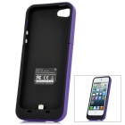 External 2000mAh Emergency Power Battery Charger Back Case for iPhone 5 - Purple + Black