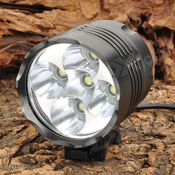 3000lm 3-Mode White Bicycle Headlamp w/ 5 x Cree XM-L T6 - Dark Grey (4 x 18650) 600lm 3 mode white bicycle headlamp w cree xm l t6 black silver 4 x 18650
