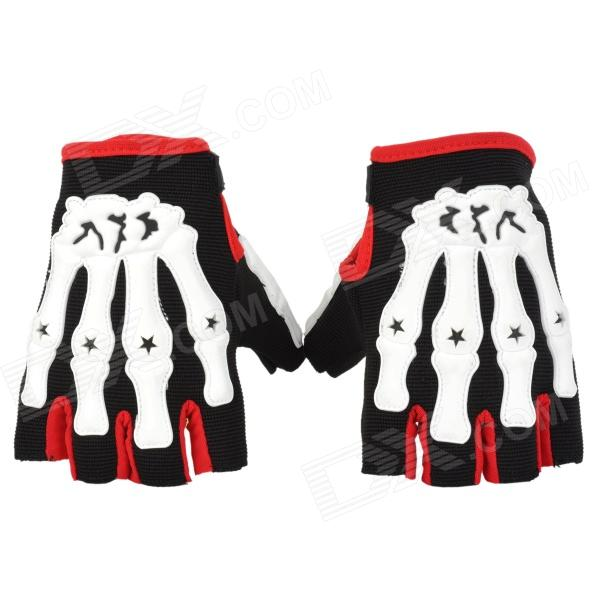 Skull Style Half-Fingers Anti-Slip Motorcycle Racing Gloves - Black + White + Red (Size L)