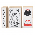Cute Cartoon Bear Figure DIY Wooden Stamps Set - White + Black + Red (4 PCS)