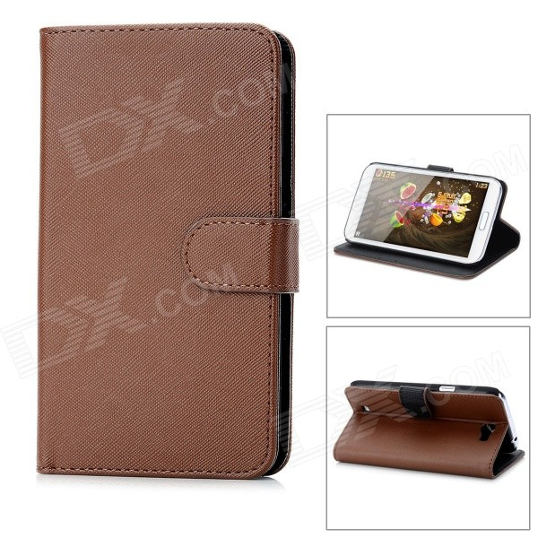 Protective PU Leather Cover PC Back Case Stand w/ Card Slots for Samsung Galaxy Note 2 N7100 - Brown 2 in 1 detachable protective tpu pc back case cover for samsung galaxy note 4 black