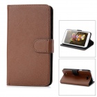 Protective PU Leather Cover PC Back Case Stand w/ Card Slots for Samsung Galaxy Note 2 N7100 - Brown