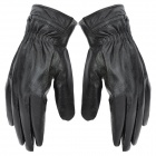 Cow Leather Warm Full-finger Gloves for Women - Black (Pair / Size XL)