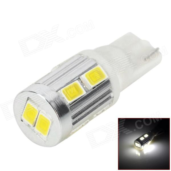 DM130111338 T10 5W 250lm 10-SMD 5730 LED White Light Car License Plate / Reading Lamp (2 PCS / 12V) lx 3w 250lm 6500k white light 5050 smd led car reading lamp w lens electrodeless input 12 13 6v