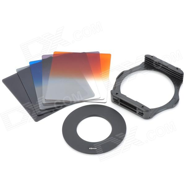 S1304 8-in-1 Gradual ABS Lens Filters + Lens Mount + Ring Set for 49mm Lens Camera - Black szsy02 universal camera gradual lens filters nd2 nd4 sunset filter set black 6 pcs