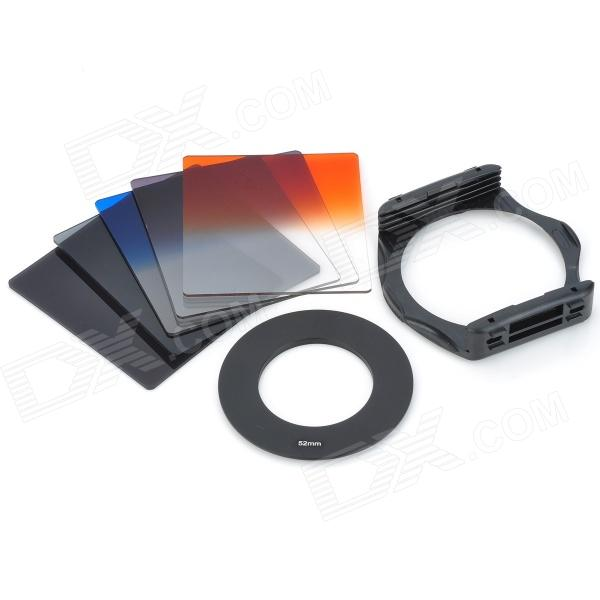 S1304 8-in-1 Gradual ABS Lens Filters + Lens Mount + Ring Set for 52mm Lens Camera - Black szsy02 universal camera gradual lens filters nd2 nd4 sunset filter set black 6 pcs