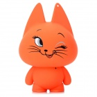 Cute Naughty Cat Shape USB Speaker w/ 3.5mm Audio Plug to Plug Cable - Orange Red