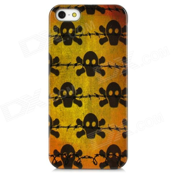 Cool Skull Style Protective Plastic Back Case for Iphone 5 - Yellow + Black cool skull head style protective soft silicone back case for iphone 4 4s pink