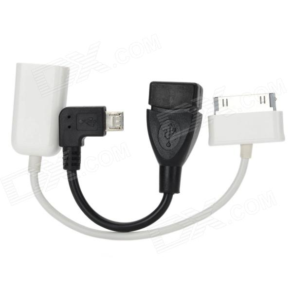 USB 2.0 OTG Adapter Cables Set for Samsung Phone / Tablet PC - Black + White (2 PCS) micro usb male to usb female otg adapter for samsung i9500 i9300 i9100 htc motorola white