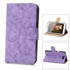 Denim Pattern Protective PU Leather Cover PC Case Stand for Samsung Galaxy Note 2 N7100 - Purple