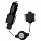 Car Charger + 3-in-1 USB Data/Charging Cable for iPhone 4 / 4S / Samsung Galaxy Tab + More - Black
