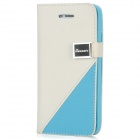 Stylish Protective PU Leather Case for iPhone 5 - White + Blue