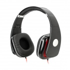 807 Stylish Wired Headphones - Black + Red + Silver (3.5mm Plug / 120cm)
