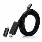 Universal 1080p Micro USB 5-Pin / 11-Pin Male to HDMI Male MHL Adapter Cable - Black (290cm)