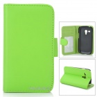 Folio-Open Protective PU Leather Cover Case w/ Card Slots for Samsung i8190 Galaxy S3 Mini - Green