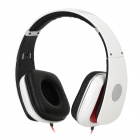807 Wired 3.5mm Jack Headband Headset Headphones - White + Red + Silver (120cm)