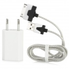AC Power Adapter + USB Daten / Ladekabel w / Colorful Visible Light for iPhone 4 / 4S - Weiss