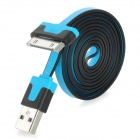 USB 2.0 Data / Charging Flat Cable for iPhone 4 / iPhone 4S / iPad 2 / The New iPad - Blue + Black