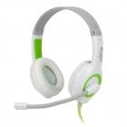 LUPUSS LPS-1513 Wired Gaming Video Headset Headphones w/ Microphone - White + Green (185cm)