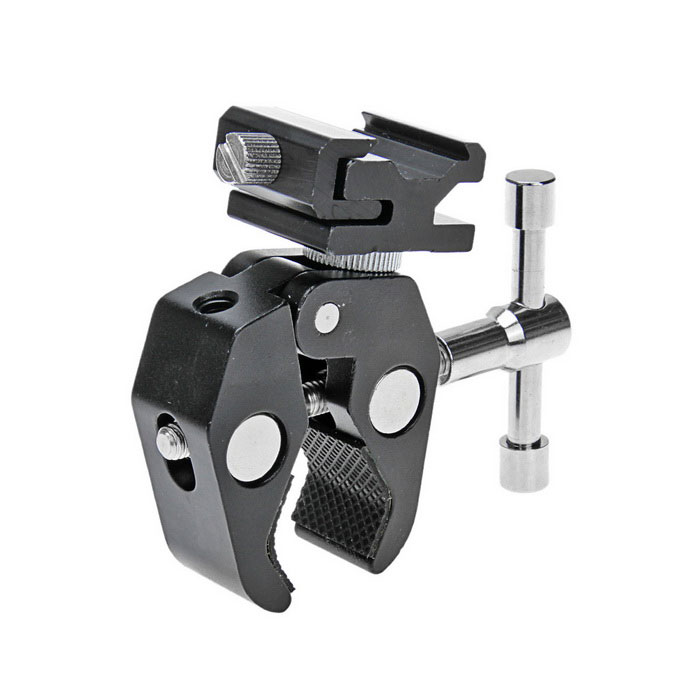 Universal Adjustable Articulating Friction Arm Crab Clamp w/ Hot Shoe Adapter Screw - Black