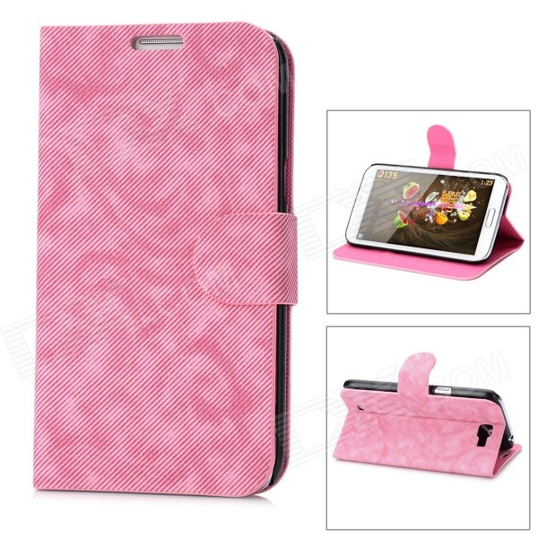 Denim Pattern Protective PU Leather Cover PC Back Case Stand for Samsung Galaxy Note 2 N7100 - Pink 2 in 1 detachable protective tpu pc back case cover for samsung galaxy note 4 black