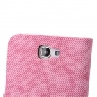 Denim Pattern Protective PU Leather Cover PC Back Case Stand for Samsung Galaxy Note 2 N7100 - Pink