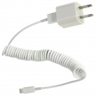 AC Charger + USB Data/Charging 8-Pin Lightning Coiled Cable for iPhone 5 / Touch 5 / Nano 7 - White